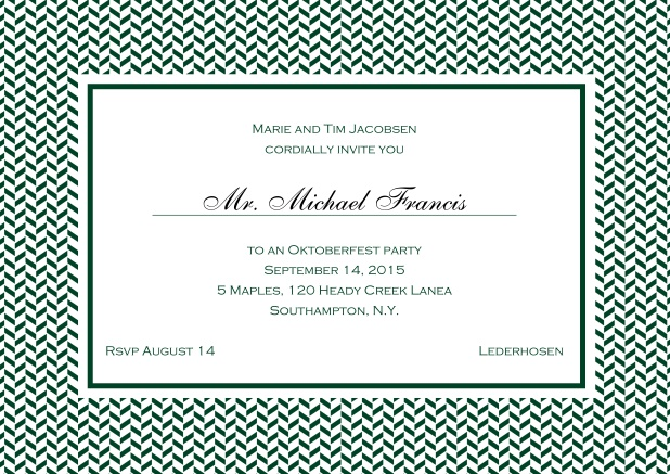 Classic online invitation with thin waves frame, editable text and line for personal addressing. Green.