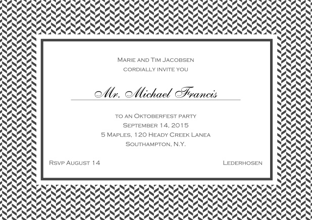 Classic online invitation with thin waves frame, editable text and line for personal addressing. Grey.