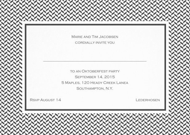 Classic invitation with thin waves frame, editable text and line for personal addressing. Grey.