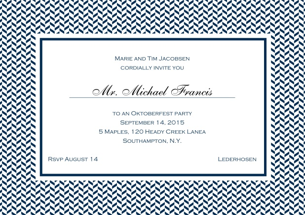 Classic online invitation with thin waves frame, editable text and line for personal addressing. Navy.