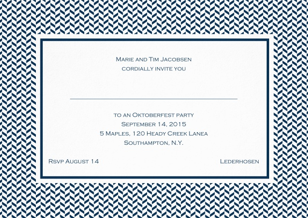 Classic invitation with thin waves frame, editable text and line for personal addressing. Navy.