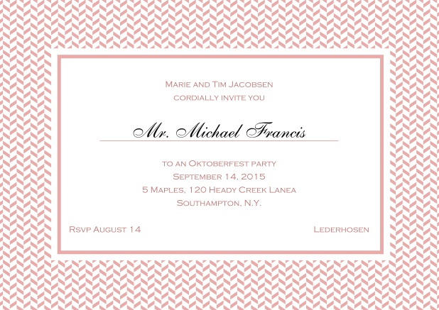 Classic online invitation with thin waves frame, editable text and line for personal addressing. Pink.