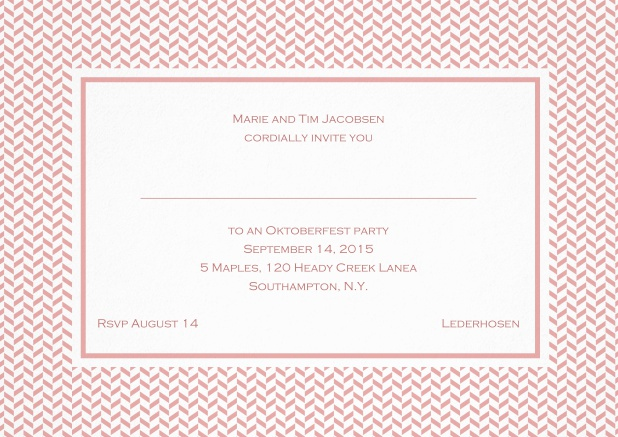 Classic invitation with thin waves frame, editable text and line for personal addressing. Pink.