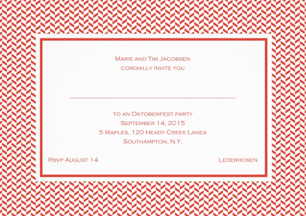 Classic invitation with thin waves frame, editable text and line for personal addressing. Red.