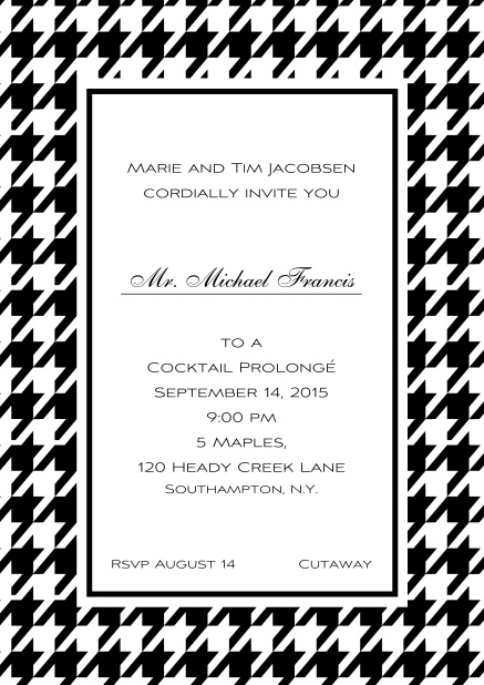 Classic online invitation card with Bavarian style frame in various colors. Black.