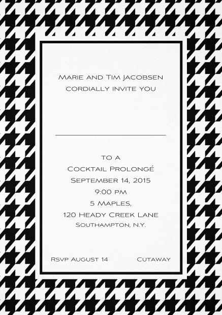 Classic invitation card with Bavarian style frame in various colors. Black.