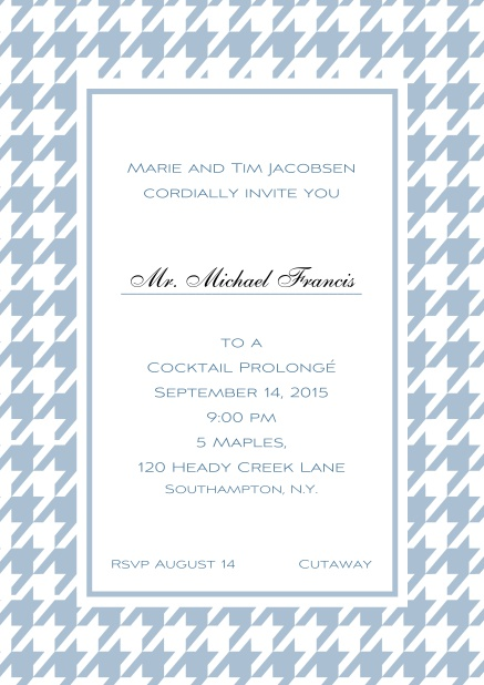 Classic online invitation card with Bavarian style frame in various colors. Blue.
