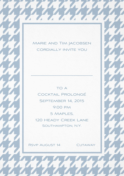 Classic invitation card with Bavarian style frame in various colors. Blue.