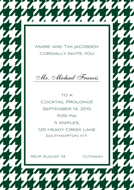 Classic online invitation card with Bavarian style frame in various colors. Green.