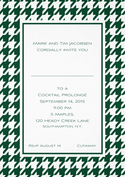 Classic invitation card with Bavarian style frame in various colors. Green.