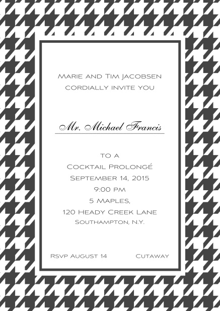 Classic online invitation card with Bavarian style frame in various colors. Grey.
