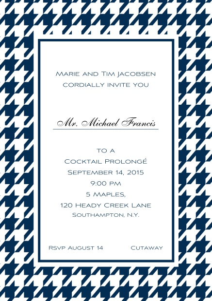 Classic online invitation card with Bavarian style frame in various colors. Navy.
