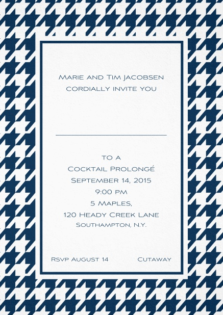 Classic invitation card with Bavarian style frame in various colors. Navy.
