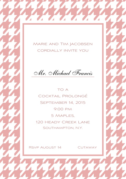 Classic online invitation card with Bavarian style frame in various colors. Pink.
