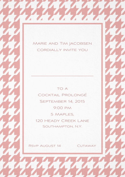 Classic invitation card with Bavarian style frame in various colors. Pink.