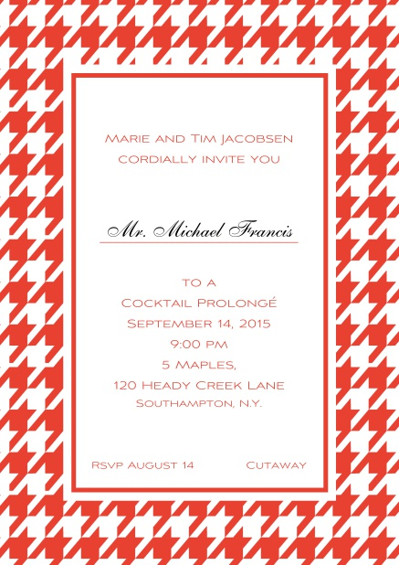 Classic online invitation card with Bavarian style frame in various colors. Red.