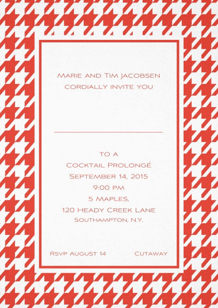 Classic invitation card with Bavarian style frame in various colors. Red.