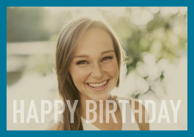 Online card with white framed photo and Happy Birthday text and Birthday wishes text on 2nd page. Blue.