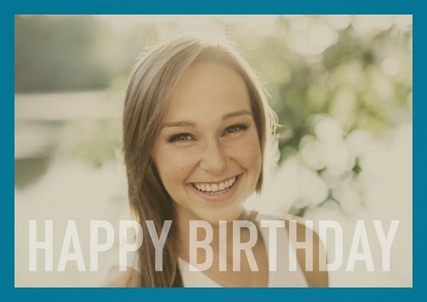 Paper card with white framed photo and Happy Birthday text and Birthday wishes text on 2nd page. Blue.