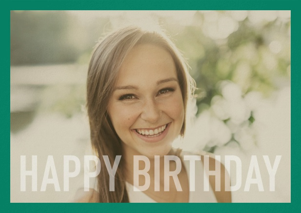 Paper card with white framed photo and Happy Birthday text and Birthday wishes text on 2nd page. Green.