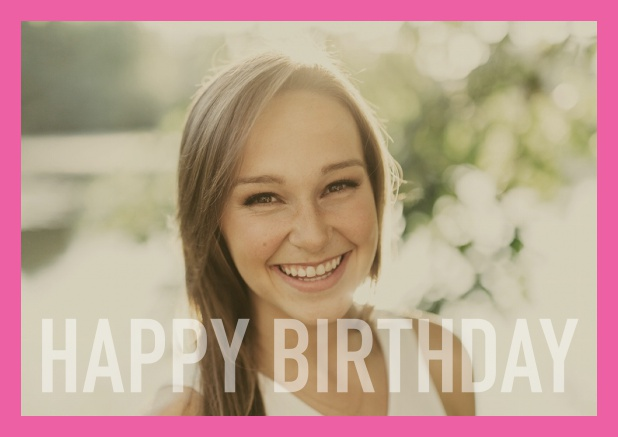 Online card with white framed photo and Happy Birthday text and Birthday wishes text on 2nd page. Pink.