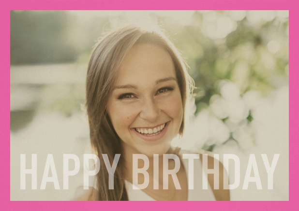 Paper card with white framed photo and Happy Birthday text and Birthday wishes text on 2nd page. Pink.