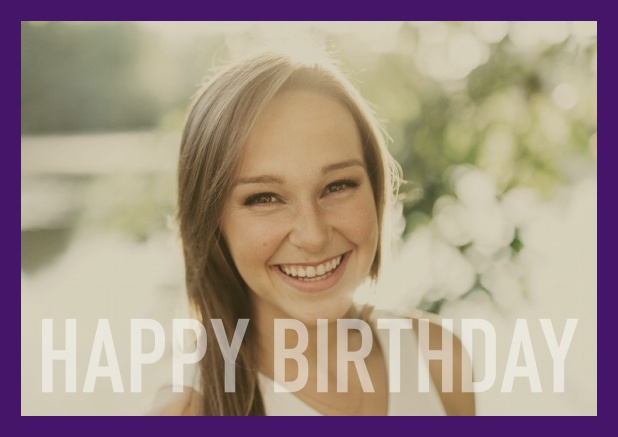 Online card with white framed photo and Happy Birthday text and Birthday wishes text on 2nd page. Purple.