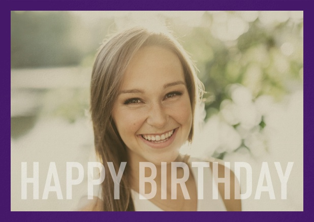 Paper card with white framed photo and Happy Birthday text and Birthday wishes text on 2nd page. Purple.