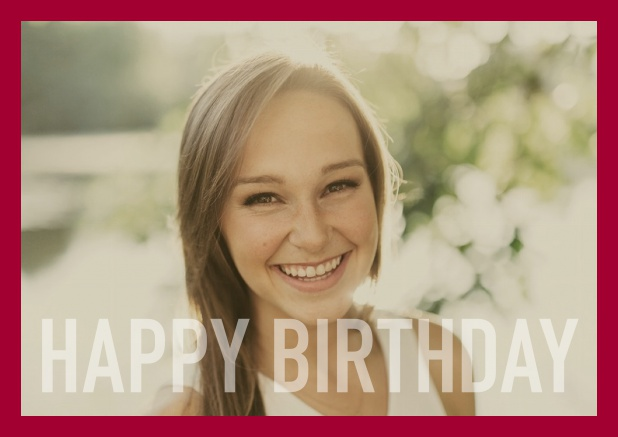 Online card with white framed photo and Happy Birthday text and Birthday wishes text on 2nd page. Red.