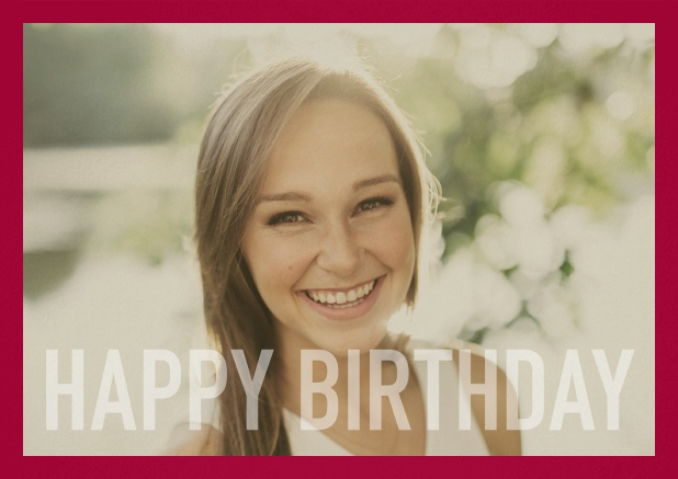 Paper card with white framed photo and Happy Birthday text and Birthday wishes text on 2nd page. Red.