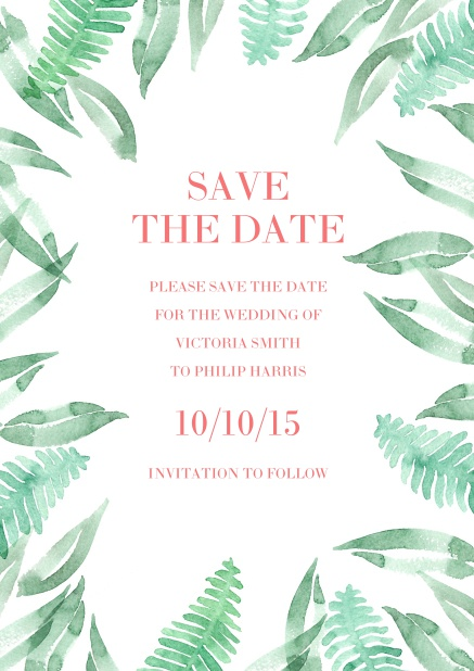 Online Wedding save the date card with green farn.