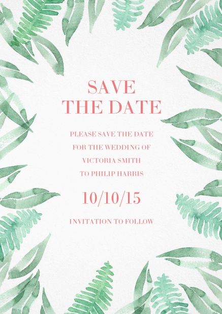 Save the date card with green leaf design.