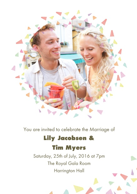 Online Wedding invitation card with photo and colorful deco.