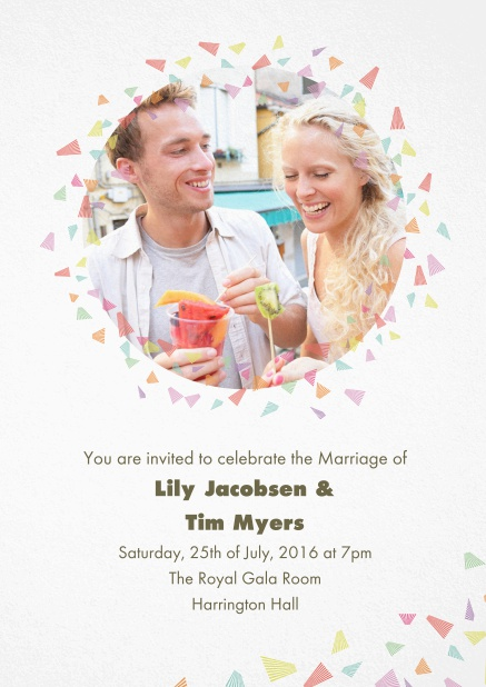 Wedding invitation card with photo and colorful deco.