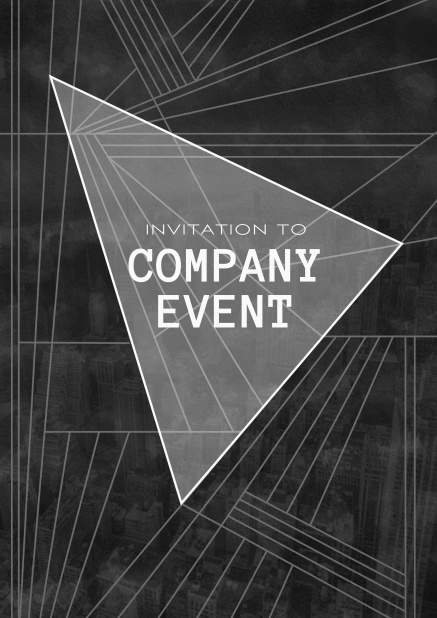Corporate invitation card with large triangle text field over artistic modern card design.