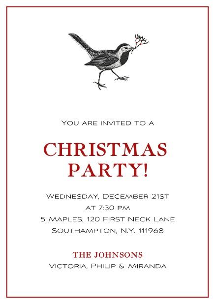 xmas bird christmas party invitations