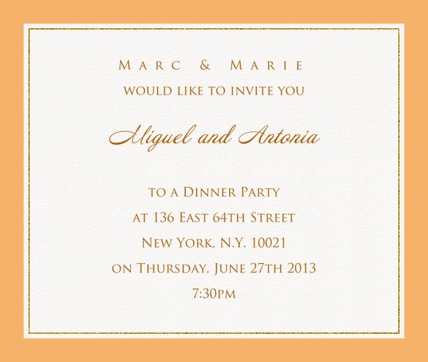 Online invitation card with customizable frame with fine golden border Beige.