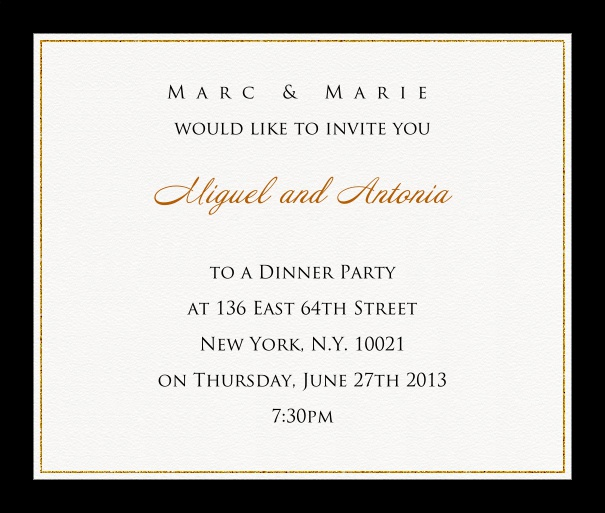 Online invitation card with customizable frame with fine golden border Black.