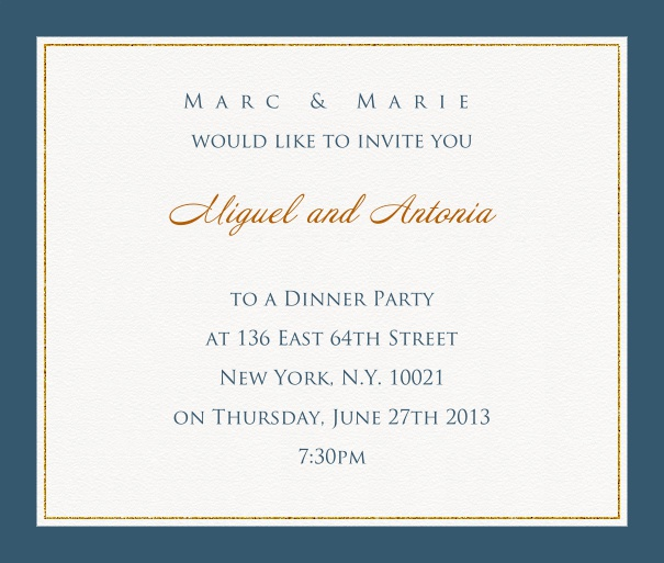 Online invitation card with customizable frame with fine golden border Blue.
