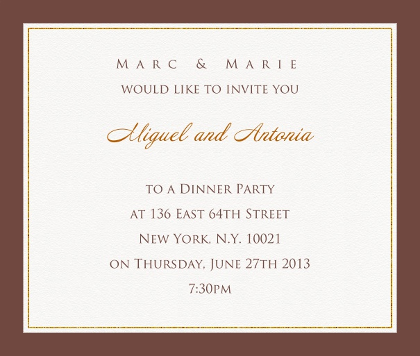 Online invitation card with customizable frame with fine golden border Gold.