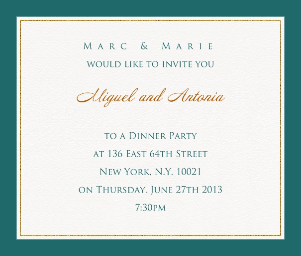 Online invitation card with customizable frame with fine golden border Green.