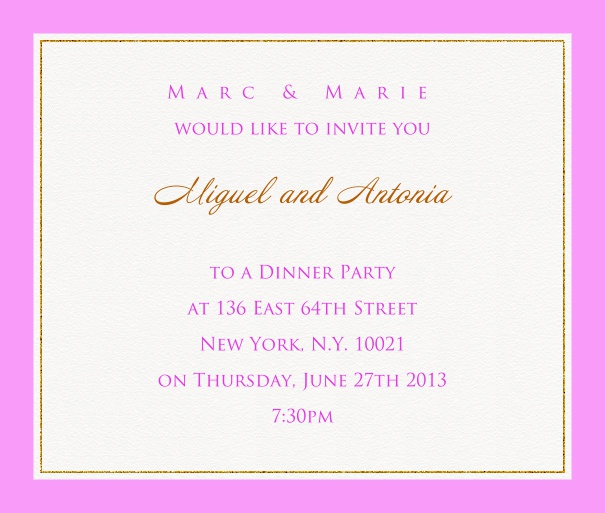 Online invitation card with customizable frame with fine golden border Pink.