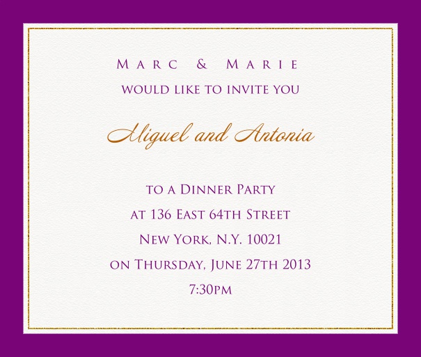 Online invitation card with customizable frame with fine golden border Purple.