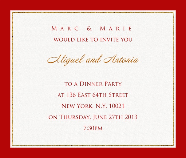 Online invitation card with customizable frame with fine golden border Red.