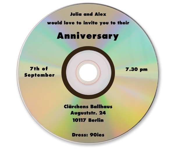 Online invitation card designed as a golden CD.