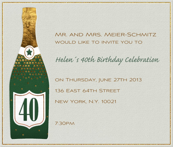 Square Beige Customizable 40th Birthday Invitation or Anniversary Invitation with champagne bottle.
