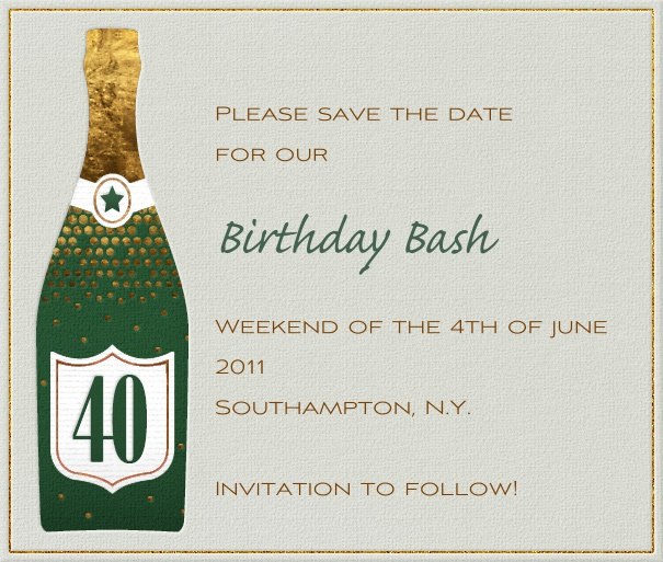 Square Green 40th Birthday Party Save the Date Card with champagne bottle.