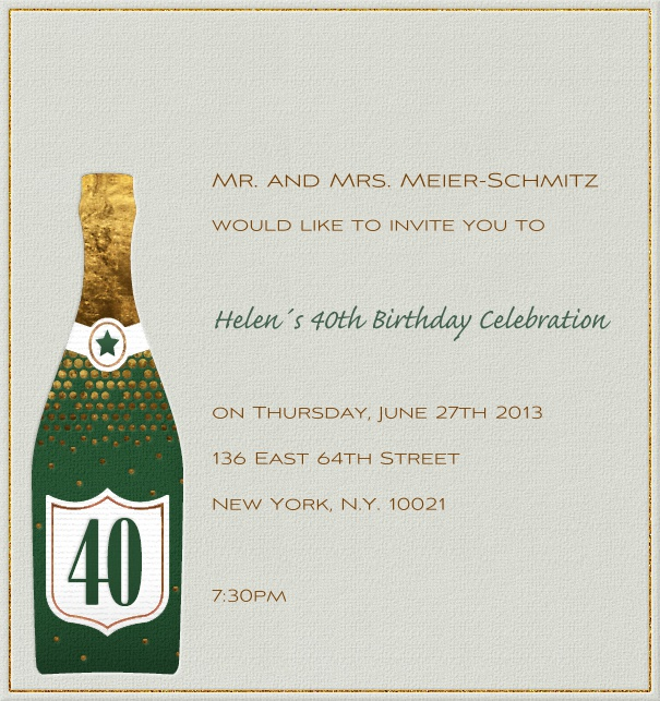 High Format Beige Customizable 40th Birthday Invitation or Anniversary Invitation with champagne bottle.