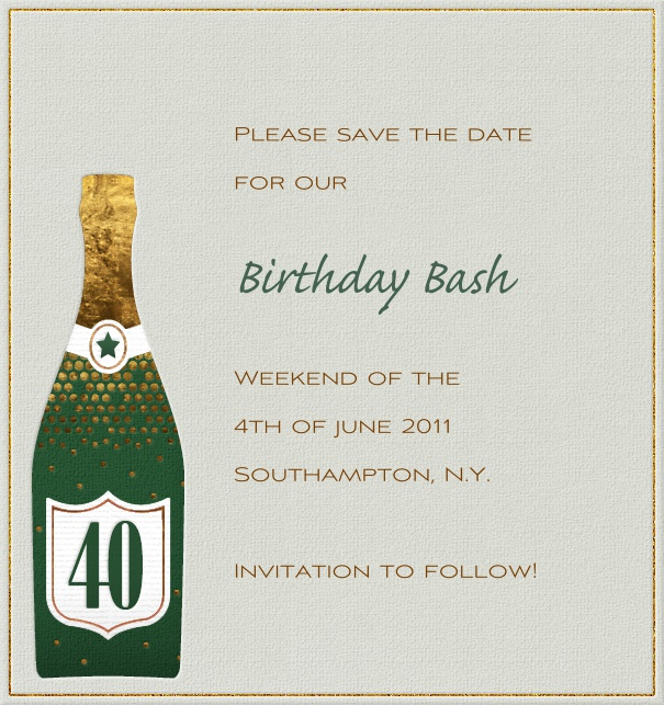 Rectangular Green 40th Anniversary Party Save the Date Card with champagne bottle.