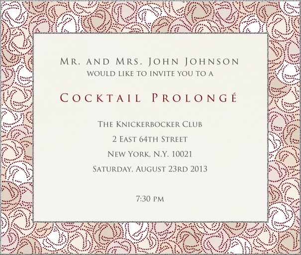 Square Beige Classic Cocktail Invitation Card customized with geometric border.